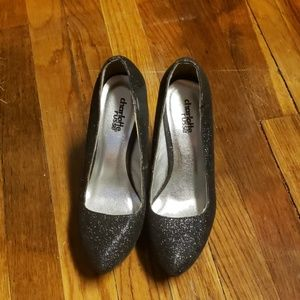 Sparkly black wedge heels, size 6